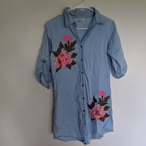 Speed Control Denim Chambray Rose T Shirt Dress